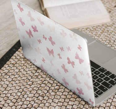 Sticker de papillons à la mode conçu en couleur rose et en différentes tailles. Disponible dans n'importe quel modèle de taille d'ordinateur portable.