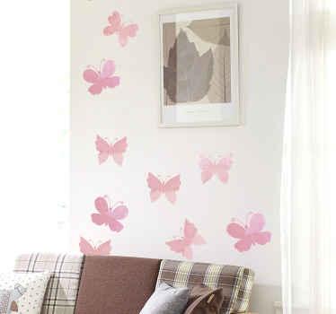 家の装飾や他の場所を選択するためのピンクの蝶のビニールステッカー。適用が簡単で、高品質のビニールで作られています。