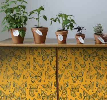 Couvrez la surface de tous les meubles de la maison ou de tout autre espace avec cet  stickers de meubles de couleur vintage papillons de haute qualité.
