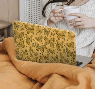 Autocollant de peaux d'ordinateur portable sticker papillons. Une conception vintage de fond avec plusieurs beaux papillons dans différentes tailles.