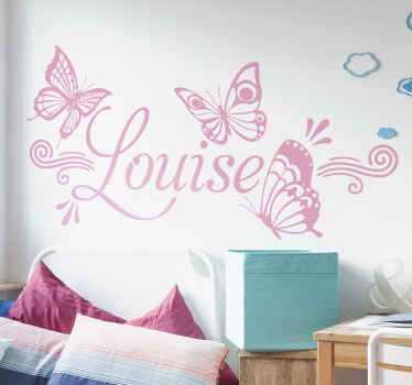 Autocollant à la mode de sticker de papillons personnalisable avec le nom pour embellir la pièce de votre enfant. Disponible dans n'importe quelle taille requise.