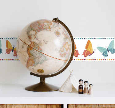 Install on your wall space a well defined horizontal band with this multicolor butterflies border sticker. Easy to apply and of high quality vinyl.
