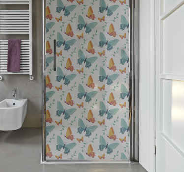 Enjoy the view of watching pretty butterflies on your shower space as you bath with this pretty colorful butterflies shower door decal installed.