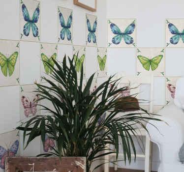 Adesivo per piastrelle con farfalle colorate impermeabile dall'aspetto sorprendente che farebbe apparire un muro come uno spazio invaso da farfalle carine e graziose.