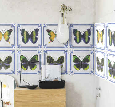 Decorative Colorful butterflies tile sticker for bathroom wall, kitchen and other space of choice.  Available in any dimension required.