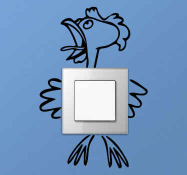 Drawing art light switch sticker of a cock. The design depicts a crushed cock having it body split in pieces. Available in different colour options.