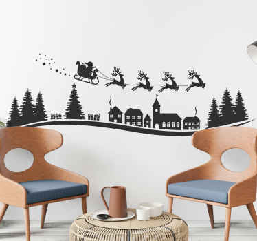 Decorative Christmas decoration for children with Santa trip ride illustration. The design features Santa Claus on a cart pulled by reindeer.