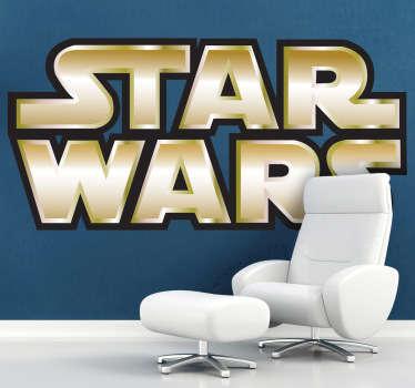 Vinilo logo Guerra Galaxias dorado