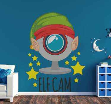 Elf cam Christmas decal with an interesting illustration and for children. It is a design that depicts Santa's spy for children featured with a cam.