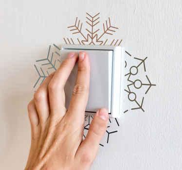 Mooie sneeuwvlokken lichtschakelaar sticker om de ruimte van een lichtschakelaar te versieren met een vleugje element. Gemakkelijk aan te brengen.