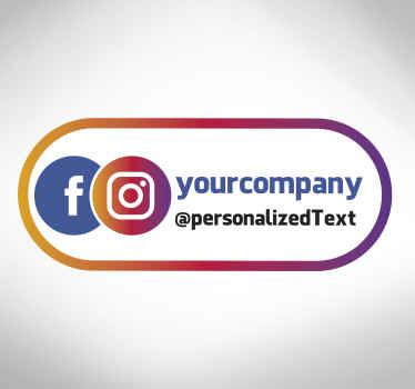 Personalisieren Sie Ihren geschäftsort mit Ihrem social-media-griff mithilfe unseres personalisierten instagram-facebook-logo-fensterladenaufklebers.