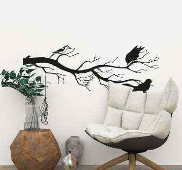 鳥の壁のステッカーが付いたシンプルな装飾ツリー。家の中の小さなスペースや特別なスペースやその他のスペースに配置して、それを強化できます。