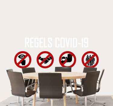 Een waarschuwing covid-19 regels pictogrammen sticker om iedereen de regels te laten weten. Koop dit product en u ontvangt het aan de deur van uw huis.