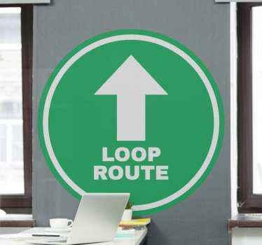 Een looproute en een pijl sticker om te laten zien welke richtingen klanten moeten lopen voor uw bedrijf of winkel. Bewaar de bestelling bij dit product.