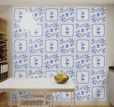 Delftsblauwe klompjes tegelsticker om het huis uniek en stijlvol te decoreren. Het is verkrijgbaar in veel verschillende maten en zeer duurzaam.
