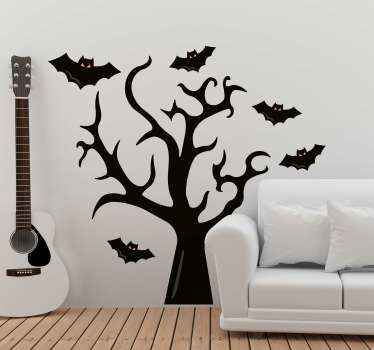 Our tree and bats halloween wall decal illustrates a tree  surrounded by many bats.  it is available in more than 50 colors.