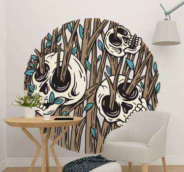 Skeleton tree halloween wall decal with branches all over they like a part of a tree. The halloween wall decor has resistant ability to air bubble.