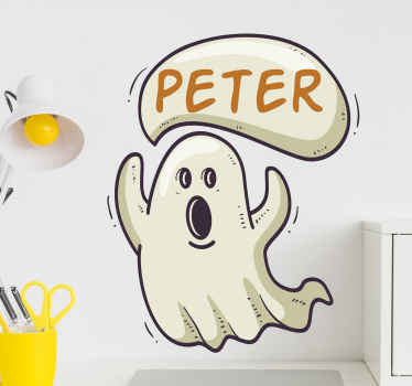 Personalized ghost Halloween decal for kids.  A little ghost design to personalize the bedroom of your child. Easy to apply, original and adhesive.