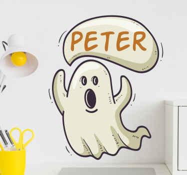 Gepersonaliseerde spook Halloween sticker voor kinderen. Een klein spookontwerp om de slaapkamer van uw kind te personaliseren. Eenvoudig aan te brengen, origineel en zelfklevend.