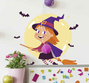 Illustrative witch Halloween decal for kids.  A little witch illustration with pretty costume and bats flying around. Easy to apply, and self adhesive.