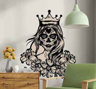 Horrific zombie woman personality sticker. You can decorate a home for Halloween with this design and the design is suitable for wall, door, window a