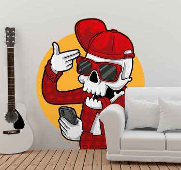Skeleton Halloween decal to decorate your house space for Halloween.  The design depicts a skeleton taking a selfie a funny design for Halloween.
