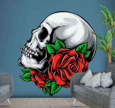 Adhesive sticker of skull with flowers to decorate the house space for Halloween.  A design of a dead person's scary looking skull with a rose flower.