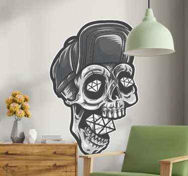 Skelet hoofd met diamanten halloween stickers om uw huis ruimte voor halloween te versieren. Het ontwerp bevat de schedel van een overledene met diamant
