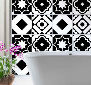 Decorative back and white pattern tile sticker suitable for a kitchen wall space, it can also be applied on bathroom, bedroom and living room space.