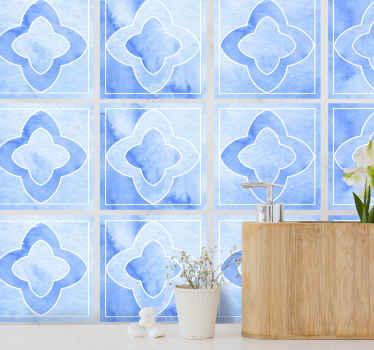 キッチンの壁スペースに適したモザイクブルーのタイルステッカー。バスルームやリビングルームのスペースにも使用できます。簡単に適用できます。