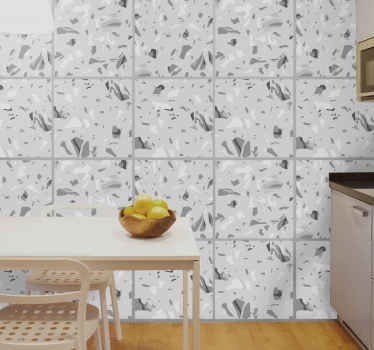 Grey marble tile vinyl sticker suitable for a kitchen wall space, it can also be applied on bathroom and living room space.