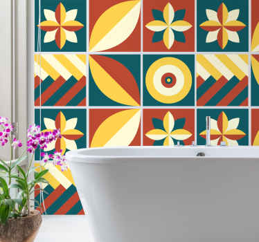 Green and orange pattern geometric tile sticker for your bathroom, bedroom, living room and even kitchen wall decoration. Easy to apply and original.