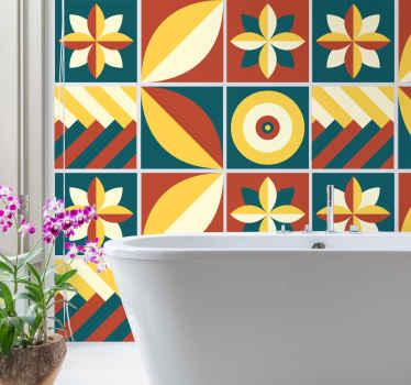 あなたのバスルーム、寝室、リビングルーム、さらにはキッチンの壁の装飾のための緑とオレンジのパターンの幾何学的なタイルステッカー。適用が簡単でオリジナル。