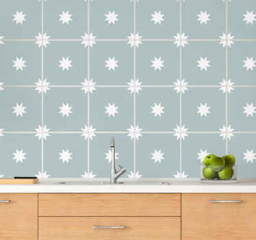 バスルーム、ベッドルーム、リビングルーム、キッチンスペースにも適した青と白の星のタイルステッカー。デザインはオリジナルでとても簡単に適用できます。