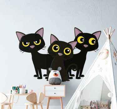 黒い子猫猫動物デカールは、お好みの空間を飾ります。あなたが猫を愛し、生き物に夢中なら、この3匹の子猫はあなたのためです。