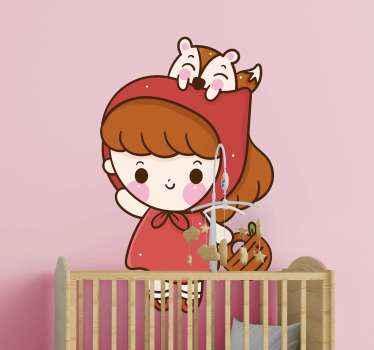 Autocollant de conte de fées chaperon rouge pour la chambre de votre enfant. Les enfants aimeraient toujours ce personnage féerique.