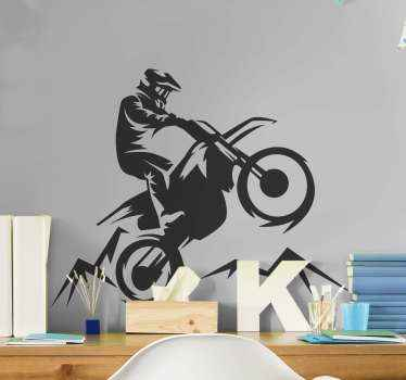 Decorative motorbike wall sticker to decorate your space. If you love motorbike racing then this design is for you. Available in any size.