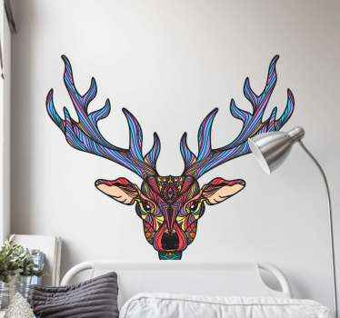 Boho reindeer wild animal decal. Lovely design to decorate any flat surface of choice and it can be applied in a living room, bedroom and other space.