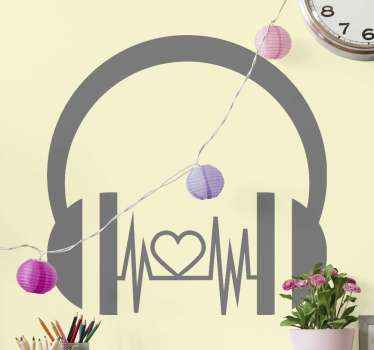 DJ music headphone sticker to decorate any space of choice. If you love music and enjoy playing music with your headphone like a DJ then buy this.