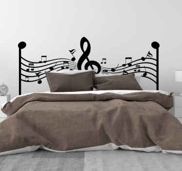 Decorative treble clef classical music decal design with symbolic sounds and note design in stave. An original design made with high quality vinyl.