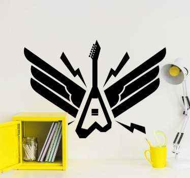 エレキギターロック楽器ステッカー。選択したスペースを飾ります。愛好家の楽器愛好家のための素敵で創造的なデザイン。
