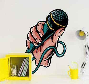 Popmusik mikrofon klistermärke för att dekorera valfritt utrymme. Om du älskar musik och tycker om att sjunga på mikrofonen detta design-id för dig.