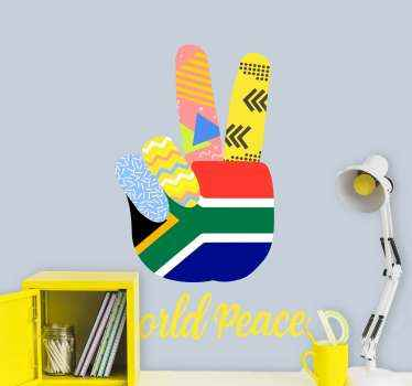 Flag the south Africa peace finger sign on your laptop and other space with our quality design. It is designed in the flag representing south Africa.