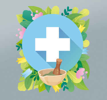 Iconic pharmacy sticker for business window space. Th design is a cross depicted to be medical cross symbol created together with colorful flowers.