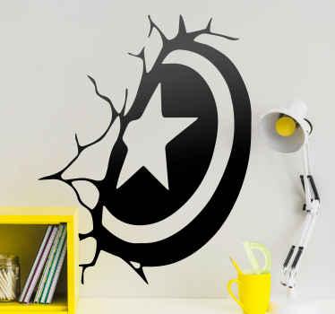 캡틴 아메리카 방패 슈퍼 히어로 벽 스티커. 이 슈퍼 히어로 일러스트레이션을 좋아하는 청소년에게 특히 십대의 방 장식에 적합합니다.