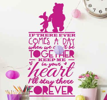 Autocollant de personnage d'ours winnie-l'ourson pour la décoration de la chambre des enfants. La citation de motivation  inspirée de l'histoire fictive de l'ours en peluche.