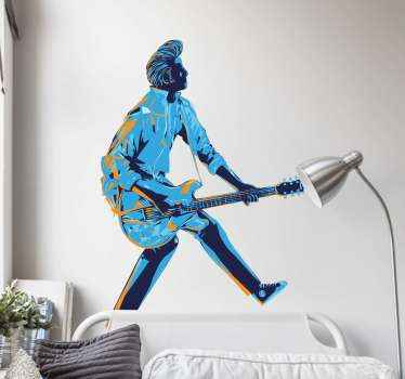 Music illustration sticker for bedroom. A design of a character depicting a music Rockstar artist playing a guitar. Its easy to apply and of quality.