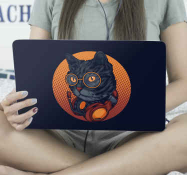 laptop sking cover featuring a cat with glasses and headphones on a black background. It can be applied and can be removed whenever you want to.