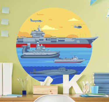 This nautical wall sticker with different large ships on the big sea brings a little color to your room. It is easy to apply.