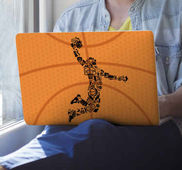 laptop vinyl sticker - Silhouette of a basketball player in action with made with different icons. Easy to apply and leaves no residue upon removal.